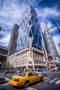 Hearst Tower in New York City Beautiful NYC USA Taxi Cab Stock Photos