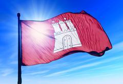 hamburg (ger) flag waving on the wind - stock illustration
