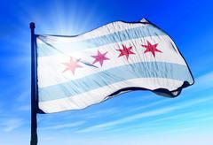Chicago (usa) lippu heiluttaen tuulessa Piirros