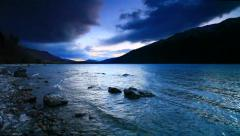 Panorama view of a sunset at Lake Wakatipu, South Island, New Zealand Stock Footage