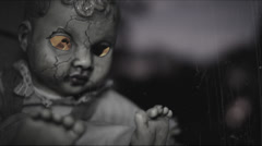 Demonic Doll with fiery eyes | aged film Stock Footage