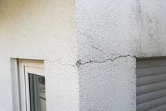Cracks in an outer wall - stock photo