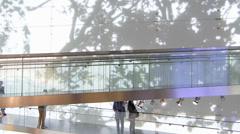 T/L BMW museum bridge w tourist visitors Stock Footage