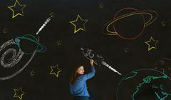 Businessman, student or teacher with chalk space travel background Stock Photos