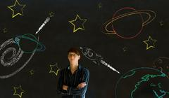 businessman, student or teacher with chalk space travel background - stock photo