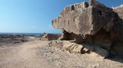 Large necropolis on north-west of Paphos harbour in Cyprus Stock Footage