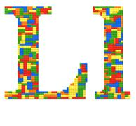 letter l built from toy bricks in random colors - stock photo