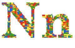 letter n built from toy bricks in random colors - stock photo