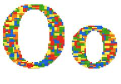 letter o built from toy bricks in random colors - stock photo