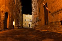 Narrow alley, pienza italy Stock Photos