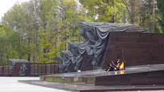 """Eternal flame"" at the memorial ""Partisan glade"" Stock Footage"