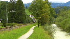 Local Train passing countryside Berchtesgaden Bavaria Germany Stock Footage