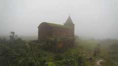 Old church in the mist and rain Stock Footage
