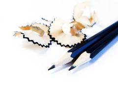 Black Pencils and Shavings Stock Photos