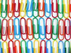 Background of Colourful Paper Clips Close Up Stock Photos