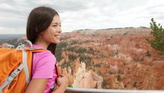 Hiking - woman hiker in Bryce Canyon, USA Stock Footage