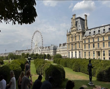 A ferris wheel in the Tuileries garden near the Louvre museum. Stock Footage