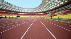 Racetrack at Grand Sports Arena of Luzhniki Olympic Complex Stock Footage