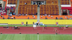 Spectators watch female race at Grand Sports Arena of Luzhniki Stock Footage
