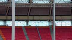 Pole vaulter drop down bar at Grand Sports Arena of Luzhniki Stock Footage