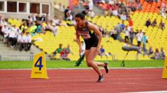 Sportswoman start race at Grand Sports Arena of Luzhniki Stock Footage