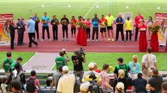 People celebrates award ceremony of athletics competitions Stock Footage