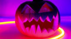 Halloween pumpkin, horror scary jack o lantern - stock footage