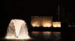 Water flow of fountain near Temple of Debod at night Stock Footage