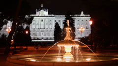 Fountain in garden of Sabatini near Royal Palace at night Stock Footage