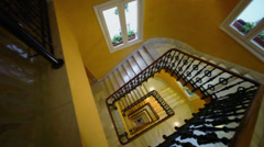 Rectangular spiral staircase in Hotel Senator Gran Via Stock Footage