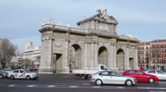 Arch Puerta de Alcala at Independence of Spain square Stock Footage
