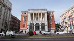 Traffic on street near Cason del Buen Retiro, Prado Museum Stock Footage