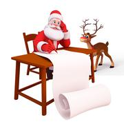 Stock Illustration of santa with big gift list