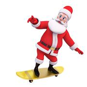 Santa with skating wheels - stock illustration