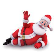 sleeping santa - stock illustration