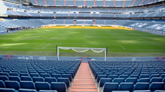 Stock Video Footage of Santiago Bernabeu Stadium - arena of soccer club Real Madrid