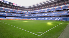Green lawn with marking of Santiago Bernabeu stadium Stock Footage