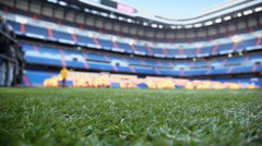 Green lawn at Santiago Bernabeu stadium Stock Footage