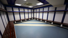 Cloakroom in Santiago Bernabeu Stadium - arena of soccer club Stock Footage