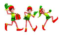 dancing elves - stock illustration