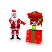 Stock Illustration of santa with elves