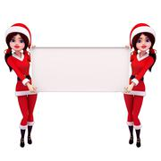santa girl with big sign - stock illustration