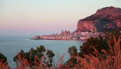 7of11 Italy, Italia, Sicily, Sicilia travel, sea town at sunset Stock Footage