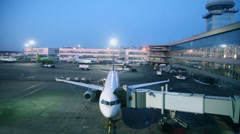 Airliner stand near terminal of airport Domodedovo Stock Footage