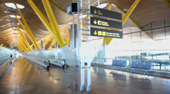 Panorama of empty hall in Madrid Barajas Airport Stock Footage