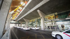 Taxi parks near Barajas airport  in Madrid Stock Footage