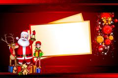 Santa claus with golden jingle bell and sign Stock Illustration