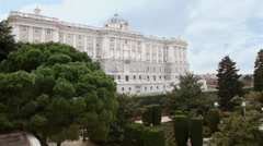 Beautiful palace of Spanish kings and gardens of Sabatini Stock Footage