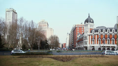 Day traffic near Plaza de Espana  in Madrid Stock Footage