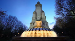 Monument to Cervantes and fountain at spring evening Stock Footage